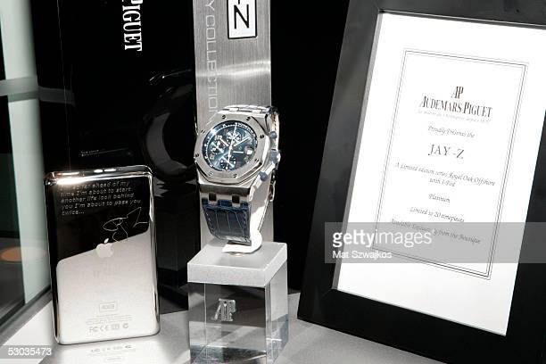 JayZ's platinum limited edition Audemars Piguet watch and iPod are displayed at Audemars Piguet Boutique June 7 2005 in New York City
