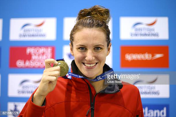 Jaz Carlin of Great Britain poses with her Gold medal after winning the Women's 400m Freestyle Final on day six of the British Swimming Championships...