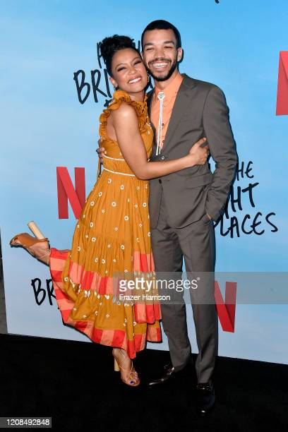 Jaz Sinclair and Justice Smith attend the Special Screening of Netflix's All The Bright Places at ArcLight Hollywood on February 24 2020 in Hollywood...