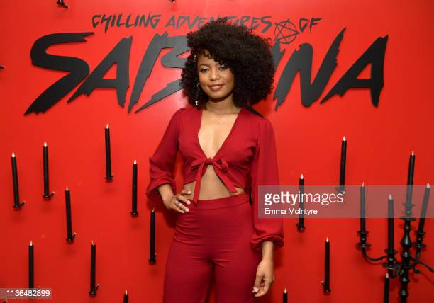 Jaz Sinclair attends Netflix's The Chilling Adventures of Sabrina QA and Reception at the Pacific Design Center on March 17 2019 in West Hollywood...