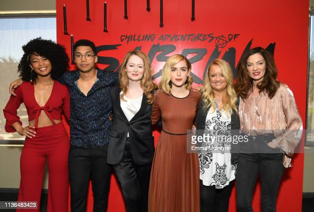 Jaz Sinclair Chance Perdomo Miranda Otto Kiernan Shipka Lucy Davis and Michelle Gomez attends Netflix's The Chilling Adventures of Sabrina QA and...