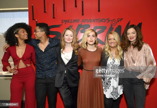 Jaz Sinclair Chance Perdomo Miranda Otto Kiernan Shipka Lucy Davis and Michelle Gomez attend Netflix's The Chilling Adventures of Sabrina QA and...