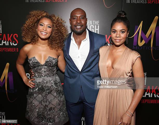 Jaz Sinclair Morris Chestnut and Regina Hall attend the Premiere Of Sony Pictures Releasing's When The Bough Breaks at Regal LA Live Stadium 14 on...
