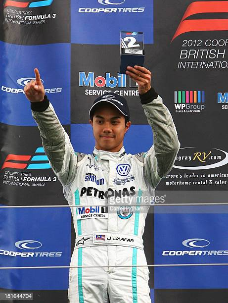 Jazeman Jaafar of Malaysia driver of the Petronas Carlin Dallara F312 Volkswagen celebrates his second place during the Cooper Tires British Formula...