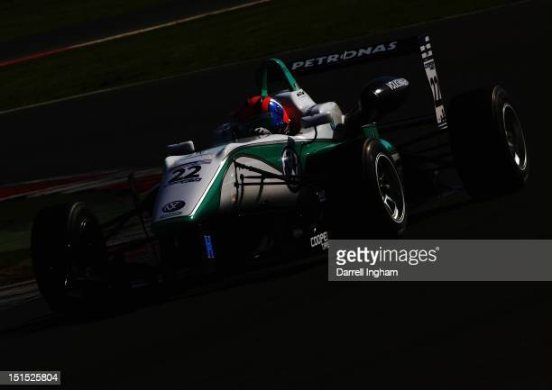 Jazeman Jaafar of Malaysia drives the Petronas Carlin Dallara F312 Volkswagen during practice for the Cooper Tires British Formula 3 International...
