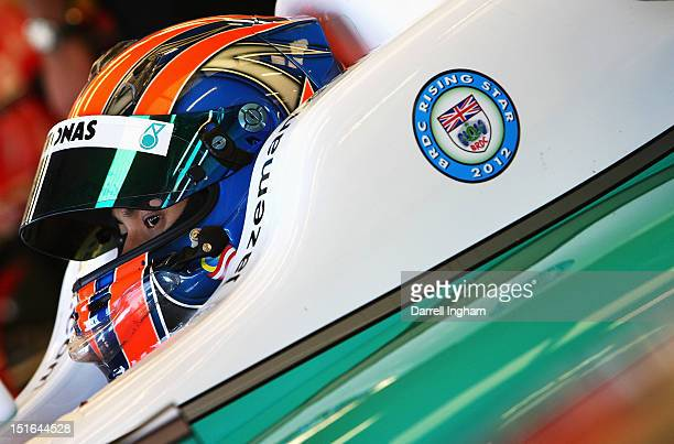 Jazeman Jaafar of Malaysia sits aboard the Petronas Carlin Dallara F312 Volkswagen before the start of the Cooper Tires British Formula 3...