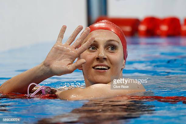 Jazmin Carlin of Great Britain celebrates winning silver in the Women's 800m Freestyle Final on Day 7 of the Rio 2016 Olympic Games at the Olympic...