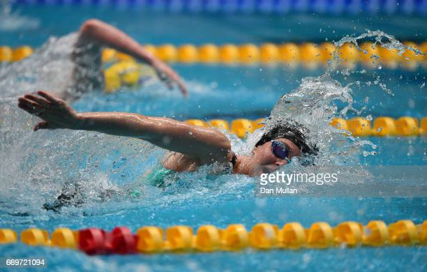 Jazmin Carlin of Great Britain competes in the Womens Open 200m Freestyle Heats on day one of the 2017 British Swimming Championships at Ponds Forge...