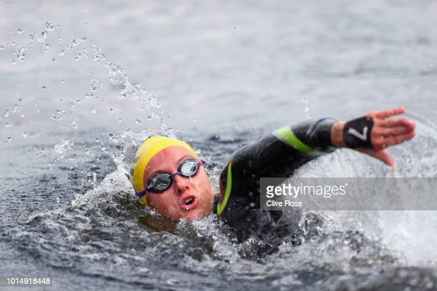Jazmin Carlin of Great Britain during the mixed 5km team open water swimming on Day ten of the European Championships Glasgow 2018 at Loch Lomond on...
