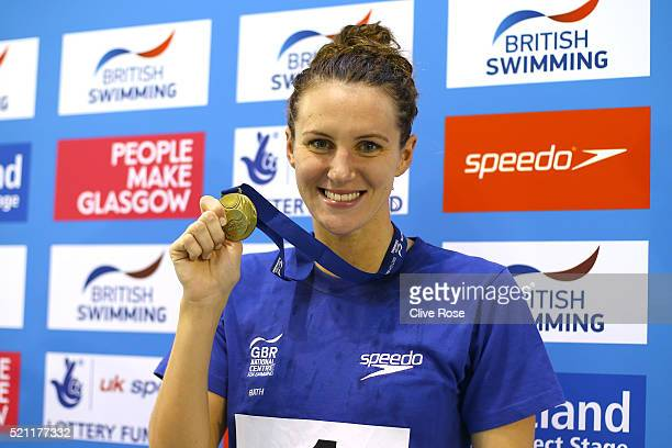 Jazmin Carlin of Great Britain poses with her Gold medal after winning the Women's 800m Freestyle Final on day three of the British Swimming...