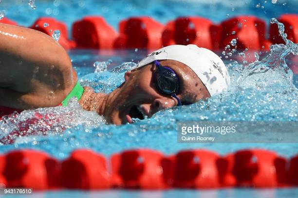 Jazmin Carlin of Wales competes during the Women's 800m Freestyle Heat 2 on day four of the Gold Coast 2018 Commonwealth Games at Optus Aquatic...