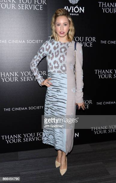 Jazmin Grace Grimaldi attends the screening of DreamWorks and Universal Pictures' 'Thank You For Your Service' hosted by The Cinema Society and Avion...