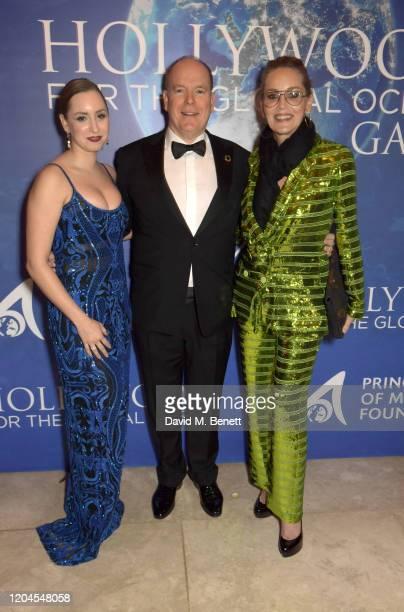 Jazmin Grace Grimaldi Prince Albert II of Monaco and Sharon Stone attend the 2020 Hollywood For The Global Ocean Gala honoring HSH Prince Albert II...
