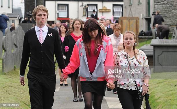 Jazmin Jones sister of April arrives ahead of the funeral service for murdered schoolgirl April Jones at St Peter's Church on September 26 2013 in...