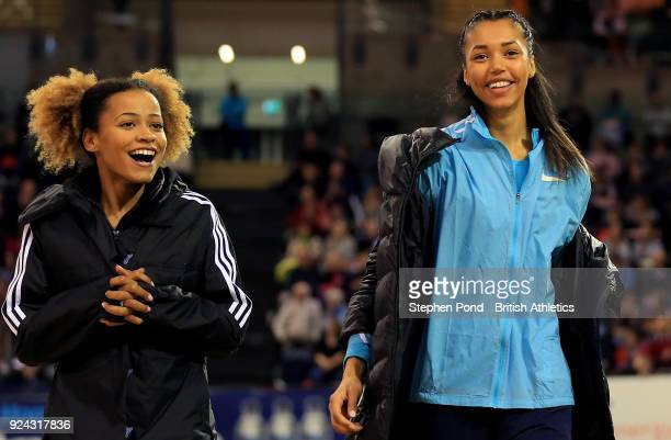 Jazmin Sawyers and Morgan Lake of Great Britain share a joke during the Muller Indoor Grand Prix event on the IAAF World Indoor Tour at the Emirates...