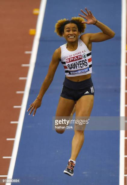 Jazmin Sawyers of C Stoke competes in the Long Jump Final during the SPAR British Athletics Indoor Championships at Arena Birmingham on February 17...