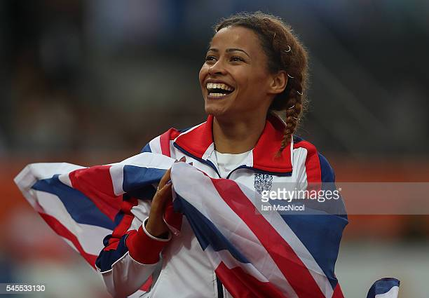 Jazmin Sawyers of Great Britain celebrates winning silver in the final of the womens long jump on day three of The 23rd European Athletics...