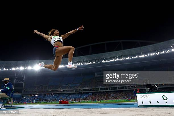 Jazmin Sawyers of Great Britain competes in the Women's Long Jump final on Day 12 of the Rio 2016 Olympic Games at the Olympic Stadium on August 17...