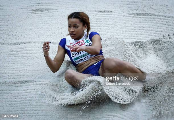 Jazmin Sawyers of Great Britain competes in the Women's Long Jump qualification on day two of the 2017 European Athletics Indoor Championships at the...