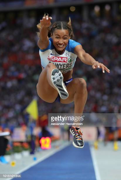 Jazmin Sawyers of Great Britain competes in the Women's Long Jump Final during day five of the 24th European Athletics Championships at...