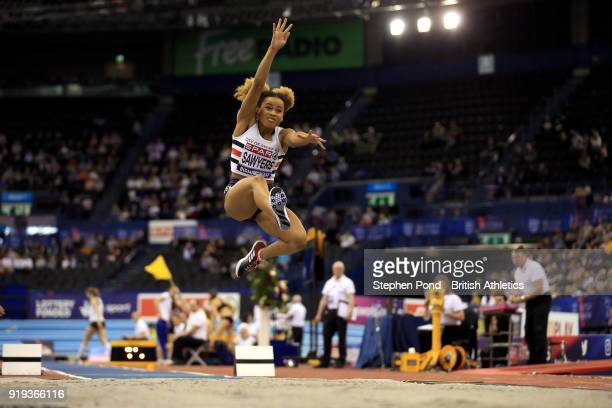 Jazmin Sawyers of Great Britain competes in the women's long jump final during day one of the SPAR British Athletics Indoor Championships at Arena...
