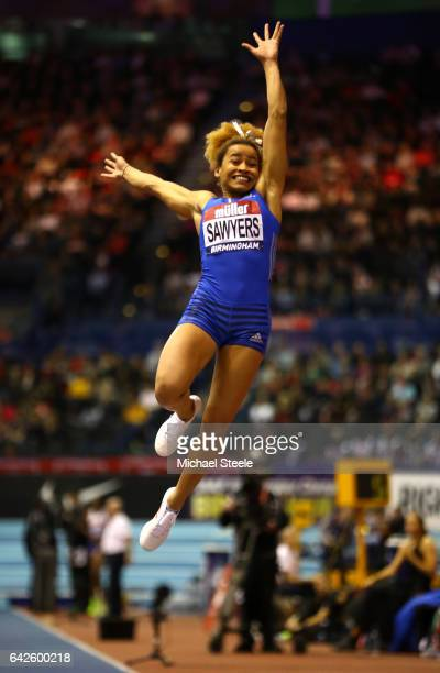 Jazmin Sawyers of Great Britain competes in women's Long Jump final during the Muller Indoor Grand Prix 2017 at Barclaycard Arena on February 18 2017...