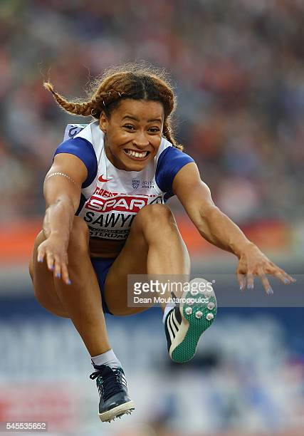 Jazmin Sawyers of Great Britain in action during the final of the womens long jump on day three of The 23rd European Athletics Championships at...