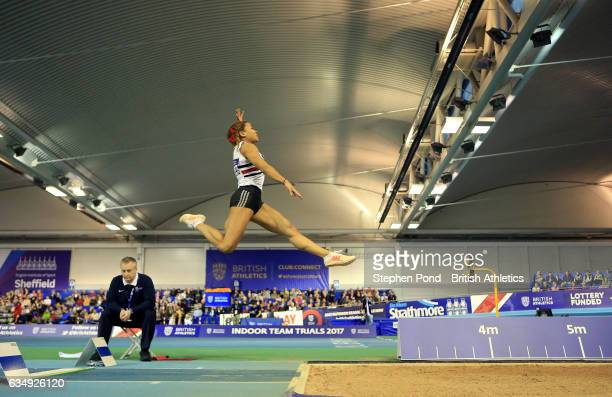 Jazmin Sawyers of Great Britain in the womens long jump during day two of the British Athletics Indoor Team Trials 2017 at the English Institute of...
