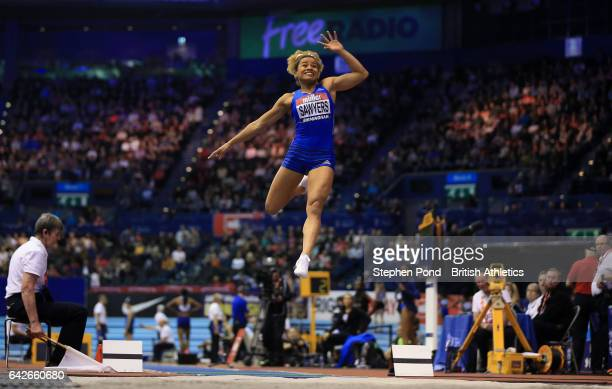Jazmin Sawyers of Great Britain in the women's long jump during the Muller Indoor Grand Prix 2017 at the Barclaycard Arena on February 18 2017 in...