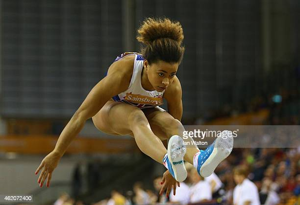 Jazmin Sawyers of Great Britain Northern Ireland in action in the women's Long Jump during the Sainsbury's Glasgow International Match at Emirates...