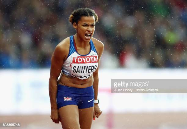 Jazmin Sawyers of Great Britain reacts during the Women's Long Jump qualification during day six of the 16th IAAF World Athletics Championships...