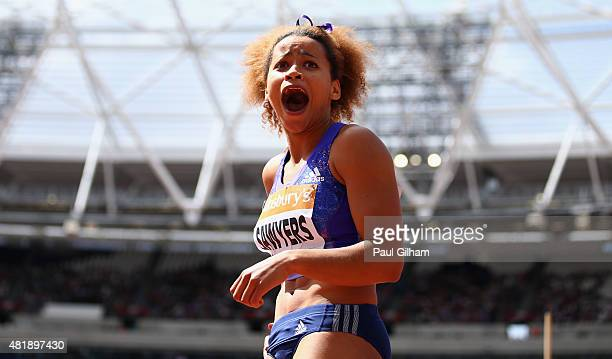 Jazmin Sawyers of Great Britain reacts whilst competing in the Womens Long Jump during day two of the Sainsbury's Anniversary Games at The Stadium...