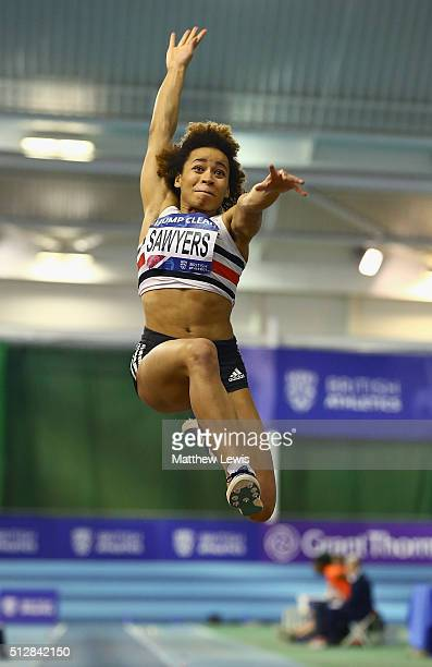 Jazmin Sawyers of Stoke in action during the Womens Long Jump Final during day two of the Indoor British Championships at English Institute of Sport...