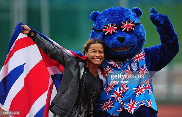 Jazmin Sawyers winner of the Womens Long Jump poses with Brit Bear during Day Three of the British Championships at Birmingham Alexander Stadium on...