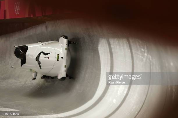 Jazmine Fenlator Victorian and Carrie Russell of Jamaica make a run during the Women's Bobsleigh training at Olympic Sliding Centre on February 17...