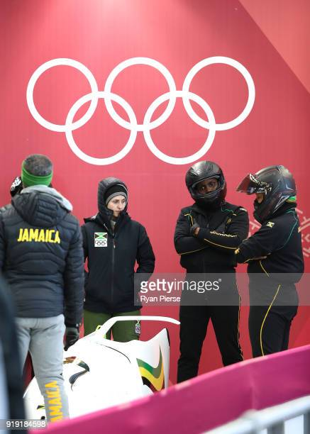 Jazmine Fenlator Victorian and Carrie Russell of Jamaica prepare for their run during the Women's Bobsleigh training at Olympic Sliding Centre on...