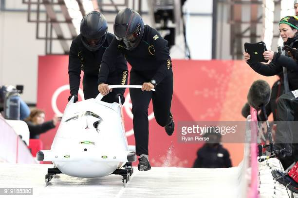 Jazmine Fenlator Victorian and Carrie Russell of Jamaica start their run during the Women's Bobsleigh training at Olympic Sliding Centre on February...