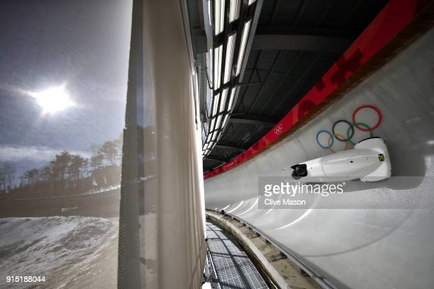 Jazmine FenlatorVictoria of Jamaica trains during Bobsleigh practice ahead of the PyeongChang 2018 Winter Olympic Games at Olympic Sliding Centre on...