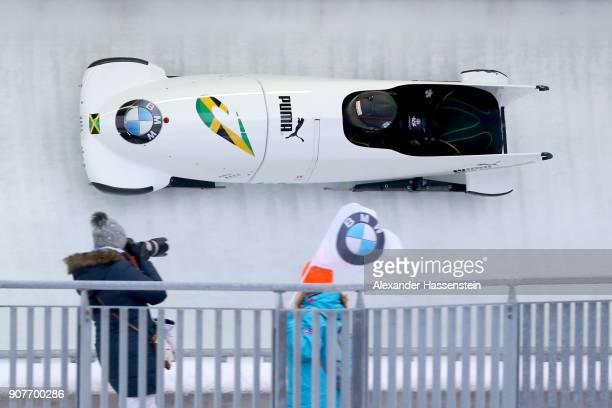 Jazmine FenlatorVictorian and Carrie Russell of Jamaica compete at Deutsche Post Eisarena Koenigssee during the BMW IBSF World Cup Women`s Bobsleigh...