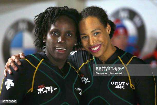 Jazmine Fenlator-Victorian and Carrie Russell of Jamaica compete at Deutsche Post Eisarena Koenigssee during the BMW IBSF World Cup Women`s Bobsleigh...