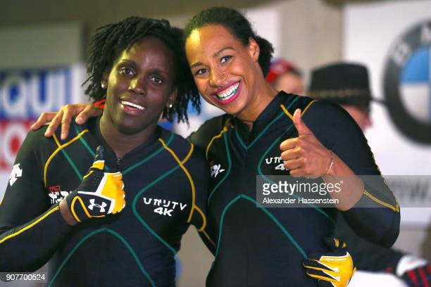 Jazmine FenlatorVictorian and Carrie Russell of Jamaica compete at Deutsche Post Eisarena Koenigssee during the BMW IBSF World Cup Women`s Bobsleigh...