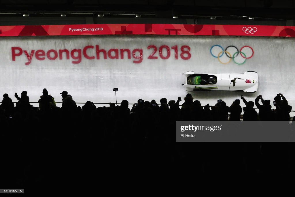 Jazmine Fenlator-Victorian and Carrie Russell of Jamaica slide during the Women's Bobsleigh heats at the Olympic Sliding Centre on day eleven of the PyeongChang 2018 Winter Olympic Games at the Olympic Sliding Centre on February 20, 2018 in Pyeongchang-gun, South Korea.