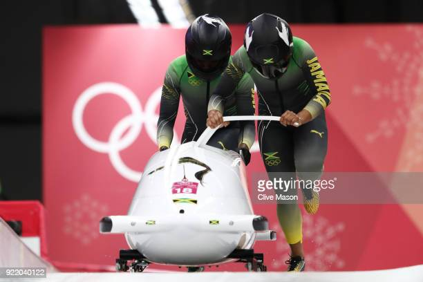 Jazmine FenlatorVictorian and Carrie Russell of Jamaica slide during the Women's Bobsleigh heats on day twelve of the PyeongChang 2018 Winter Olympic...