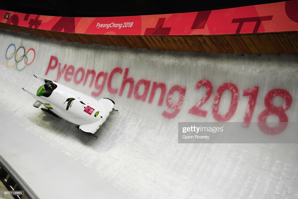 Jazmine Fenlator-Victorian and Carrie Russell of Jamaica slide during the Women's Bobsleigh heats on day twelve of the PyeongChang 2018 Winter Olympic Games at the Olympic Sliding Centre on February 21, 2018 in Pyeongchang-gun, South Korea.