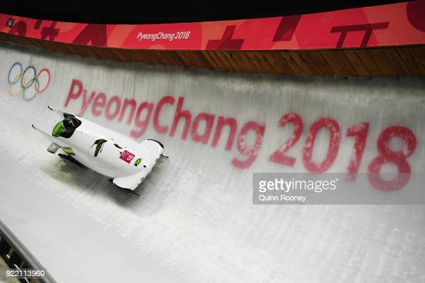 Jazmine Fenlator-Victorian and Carrie Russell of Jamaica slide during the Women's Bobsleigh heats on day twelve of the PyeongChang 2018 Winter...