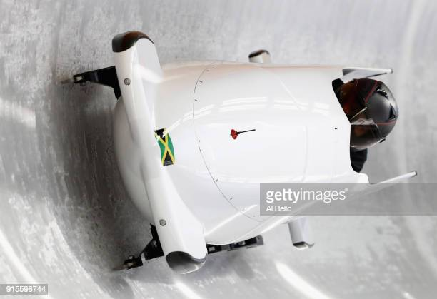 Jazmine FenlatorVictorian of Jamaica in action during Bobsleigh practice ahead of the PyeongChang 2018 Winter Olympic Games at Olympic Sliding Centre...