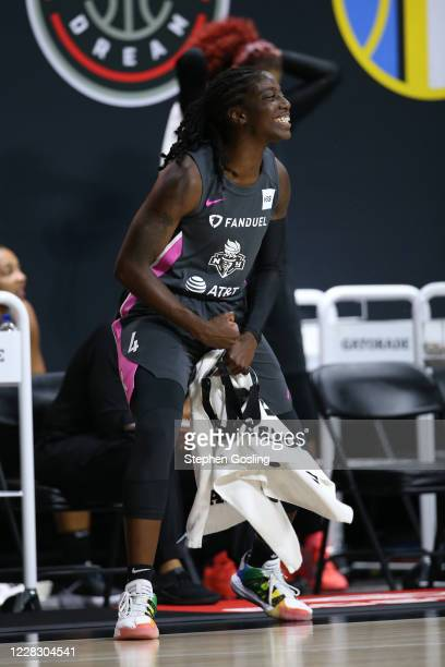 Jazmine Jones of the New York Liberty reacts to play from the bench on September 1, 2020 at Feld Entertainment Center in Palmetto, Florida. NOTE TO...