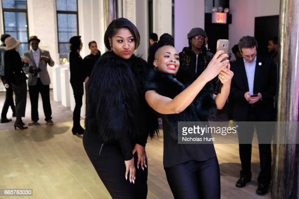 Jazmine Sullivan and Doreen Garner attend HBO's The HeLa Project Exhibit For The Immortal Life of Henrietta Lacks on April 6 2017 in New York City