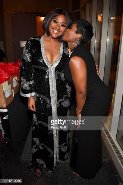 Jazmine Sullivan and Fantasia Barrino pose backstage during Black Girls Rock 2018 at NJPAC on August 26 2018 in Newark New Jersey