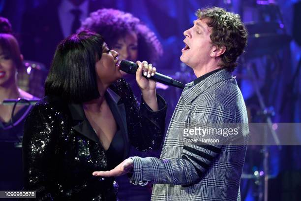 Jazmine Sullivan and Rob Thomas perform onstage during the PreGRAMMY Gala and GRAMMY Salute to Industry Icons Honoring Clarence Avant at The Beverly...